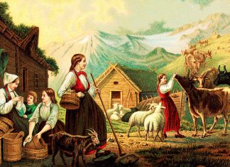«Evening at the summer dairy»   Painted by Knud Bergslien   Nasjonalbiblioteket - Public domain.