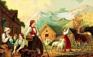 «Evening at the summer dairy» | Painted by Knud Bergslien | Nasjonalbiblioteket - Public domain.