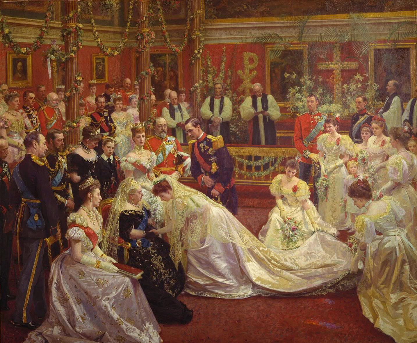 The wedding of Princess Maud of Wales and Prince Carl of Denmark in 1897. Prince Carl later became King Haakon VII of Norway. | Painter: Laurits Tuxen | Royal Collection - Public domain.