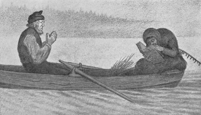 Pesta and the boatman - The Black Death. Painted 1900. | Painting by Theodor Kittelsen - wikimedia - Public Domain.
