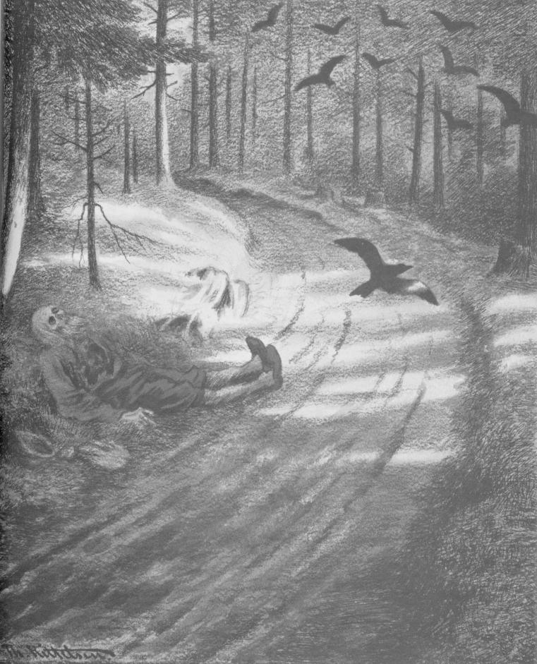 The pauper - The Black Death. Painted 1895. | Painting by Theodor Kittelsen - wikmedia - Public Domain.