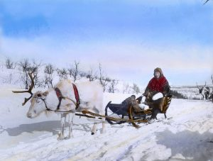 Karen V travelling with her reindeer. Finnmark, Norway. Hand-coloured photo.   Photo: Alf Schrøder co - digitaltmuseum.no FBib.01005-062 - Public domain.