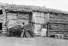 Old barn and cowshed used 1865-1922. Ole Johan Nyaas is the man in the picture. Nyås farm, Dalsbygda, Os, Hedmark. | Photo: unknown - digitaltmuseum.no MINØ.025659 - Public domain.
