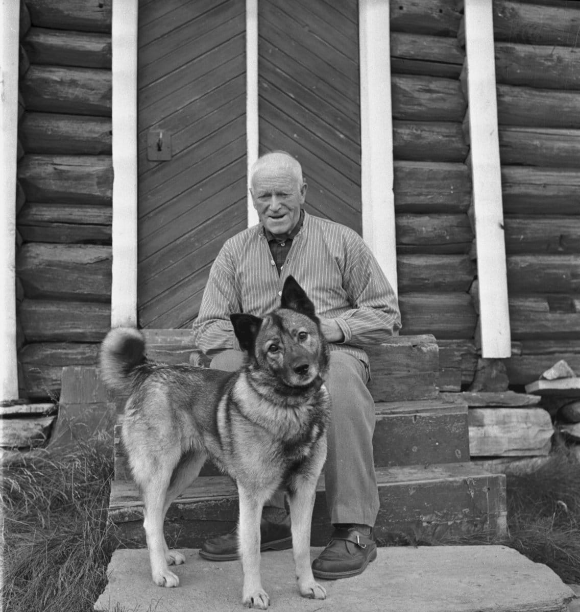 John Blæsterdalen and his Norwegian Elkhound in front of the storehouse - stabburet. The location is Folldal, Hedmark, Norge - and the year is 1968. | Photo: Per Magne Grue - digitaltmuseum MINØ.100835 - cc by.