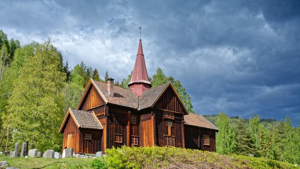 Rollag stave church in Rollag, Buskerud, Norway. Sections estimated built in late 1200s. | Photo: Dagfinn Rasmussen - kulturminnebilder.ra.no Rollag_169_DSC5291_DxO - CC BY.