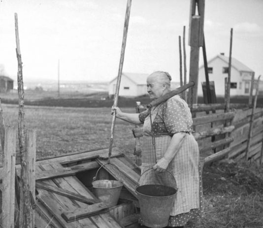 Lina Karstenstuen getting water from the well in 1952. Skytragutua, Romedal, Stange, Hedmark, Norway. | Photo: Normann Helger - digitaltmuseum.no 0417-04645 - public domain.