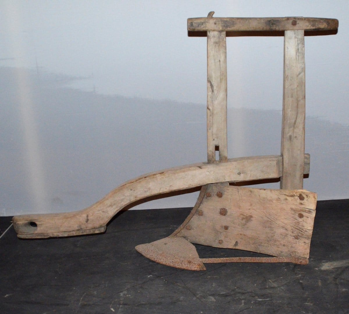 An old Norwegian plough made of wood and iron. 85 cm tall - and 106 cm long. Used with a horse. From Hopland, Utvik, Stryn, Sogn og Fjordane. | Photo: Nordfjord Folkemuseum - digitaltmuseum.no NFM.0000-00985 - cc by-sa.
