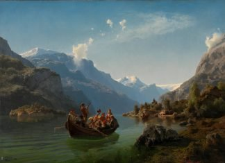 Bridal procession on the Hardanger fjord