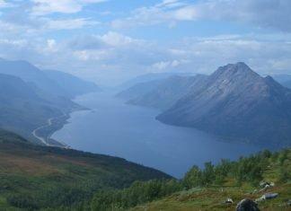 Langfjorden - in Alta, Finnmark, Norway - as seen from mount Áilegas.   Photo: HenrikJ - wikimedia - cc by.