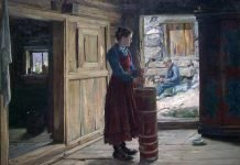 """This beautiful painting - """"Woman churning butter"""" - was painted by the Norwegian artist Gustav Wenzel in 1920. The location is the farm Hunn i Lia, Lom, Oppland. The painting will be found in the new National Museum of Art, Architecture and Design, opening its doors in the middle of the capital Oslo in 2020. 
