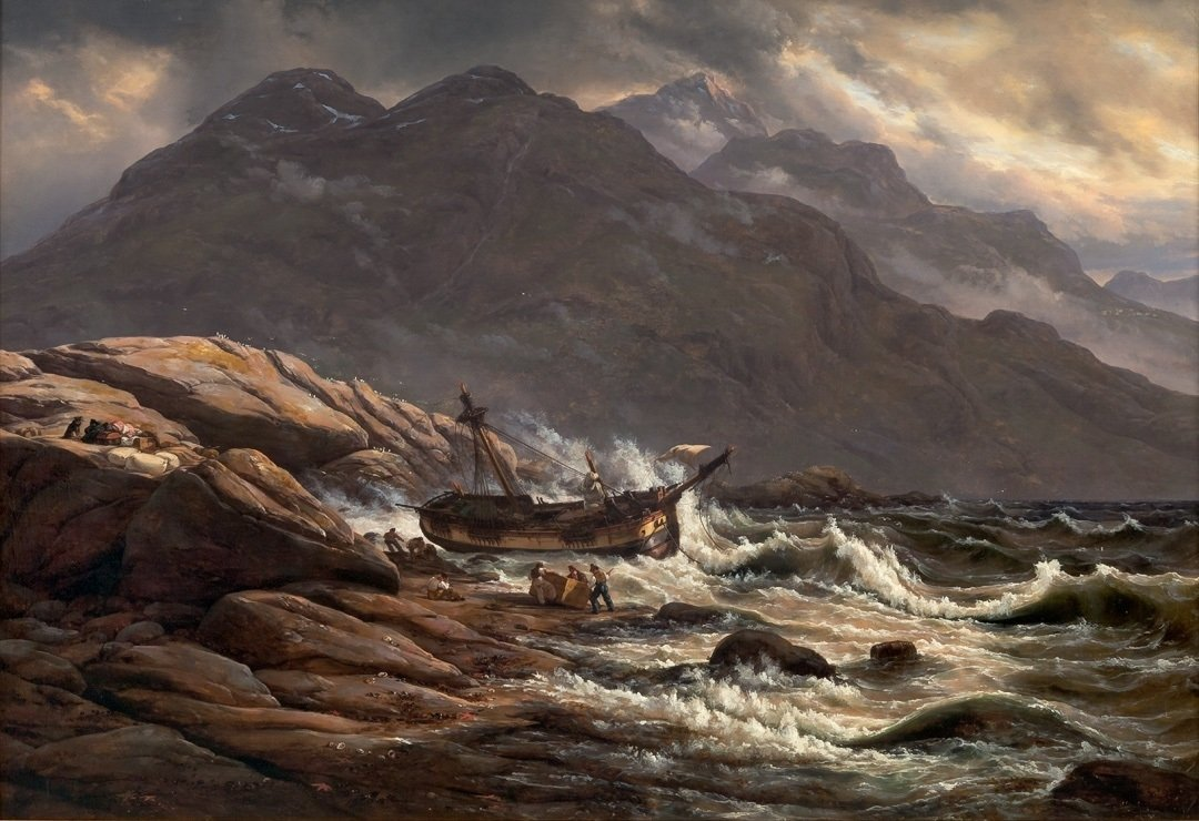 Shipwrecked on the coast of Norway. Oil painting by Johan Christian Dahl, painted in 1830. Throughout history, the Norwegians have travelled and harvested the ocean - but also suffered and lost their daughters and sons to its ferocious might. | Photo: KODE Museum - digitaltmuseum.no BB.M.01239 - public domain.
