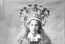 Norwegian bridal wear - studio model photos from the 1890s. | Photo: Solveig Lund - Norsk Folkemuseum cc pdm.