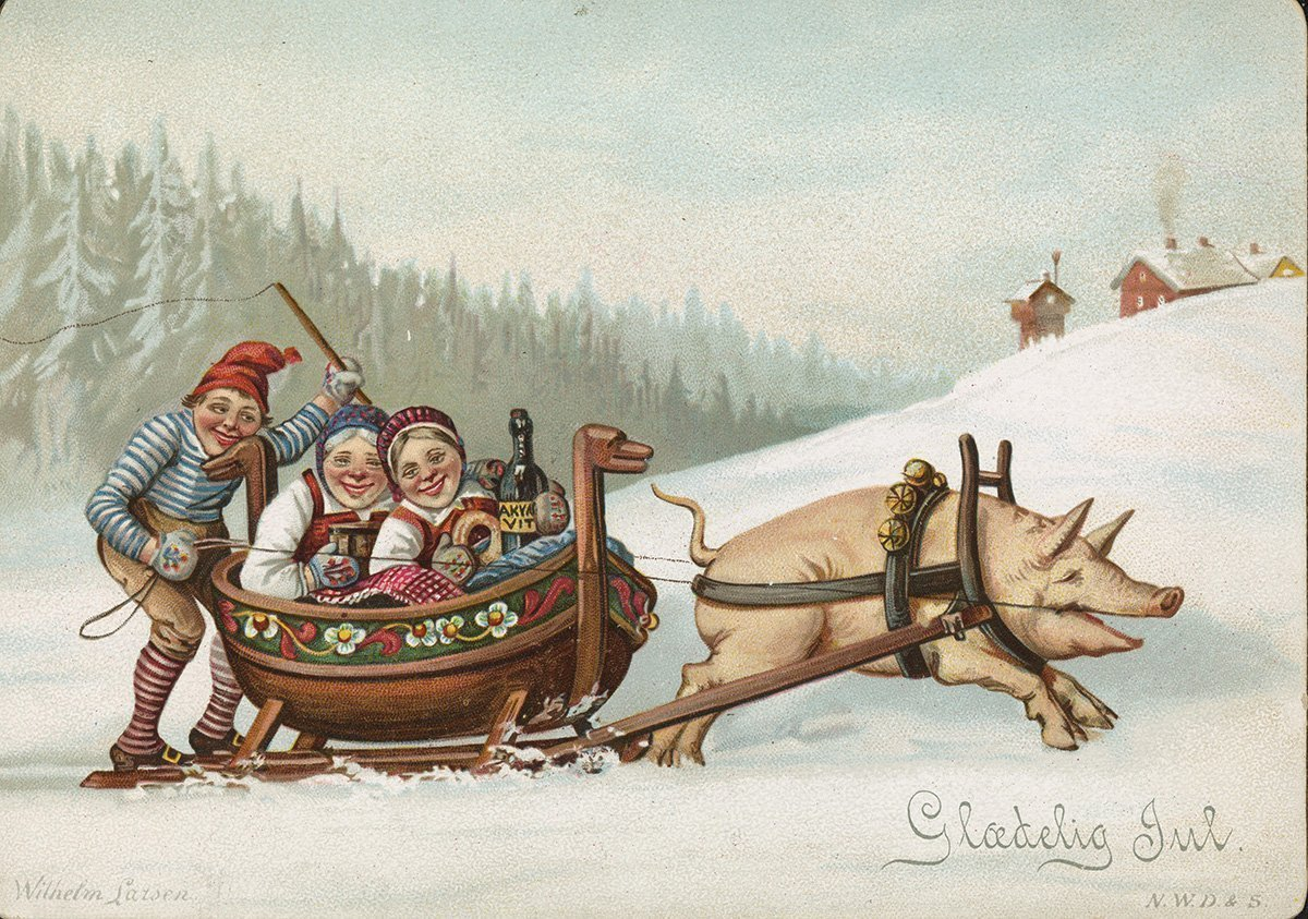 Off to Christmas celebrations. | Artist: Wilhelm Larsen - Damm nb.no cc pdm.