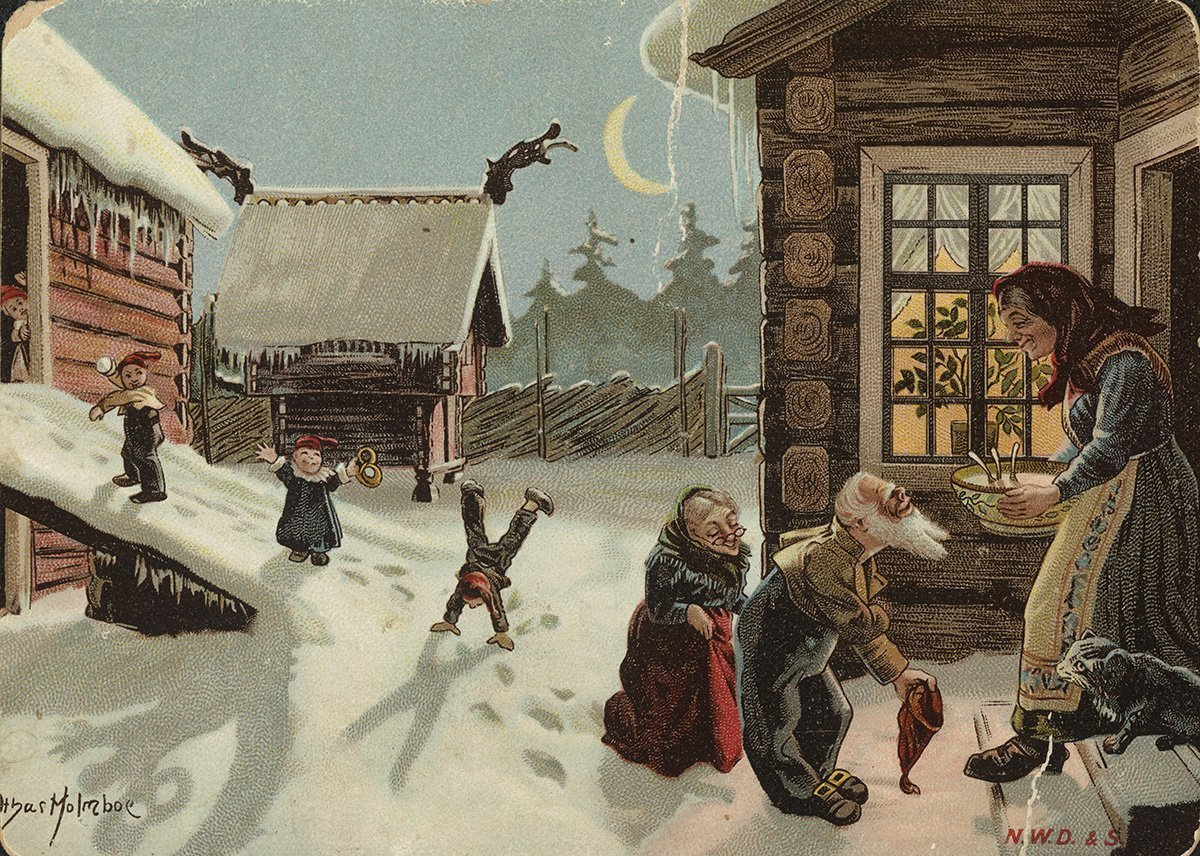The nisse-family coming out to get their Christmas porridge. | Artist: Othar Holmboe - Damm cc pdm.