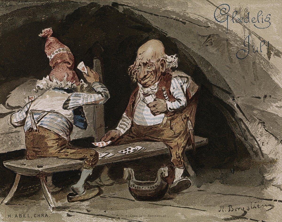 Two nisse-men playing cards at Christmas. | Artist: Nils Bergslien - H. Abel nb.no cc pdm.