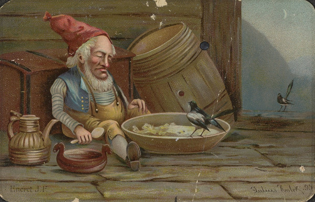 After Christmas porridge and beer, it is time for a good nisse-sleep. | Artist: Julius Holck - Fredrikson, John, Bog & Kunstforlag nb.no cc pdm.