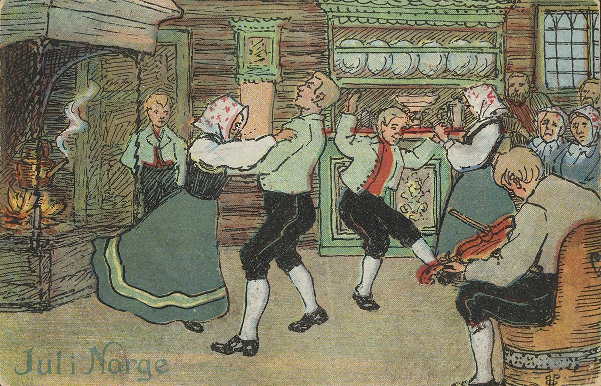 Christmas celebrations. | Artist: Othar Holmboe - J. H. Küenholdt A/S nb.no cc pdm.