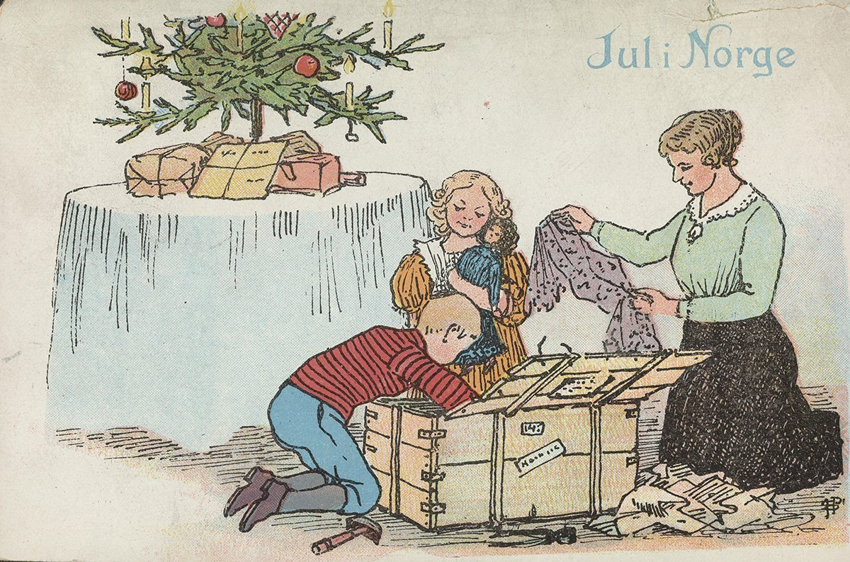 Christmas presents from afar. | Artist: Othar Holmboe - J. H. Küenholdt A/S nb.no cc pdm.