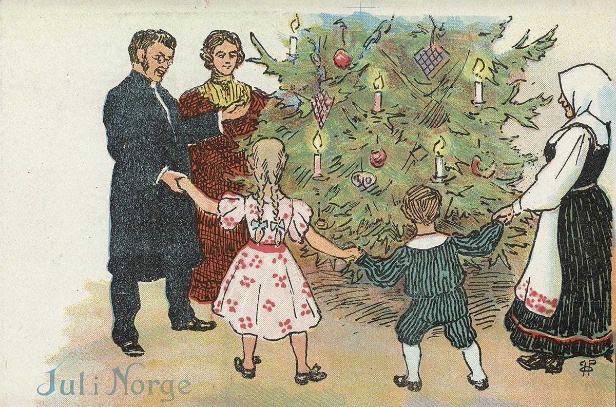 Singing around the Christmas tree. | Artist: Othar Holmboe - J. H. Küenholdt A/S nb.no cc pdm.