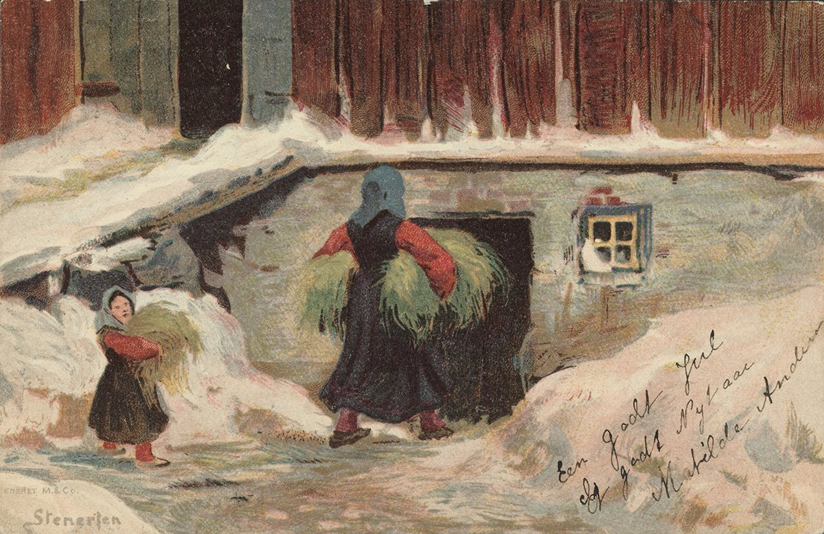 Christmas means extra food for everyone. | Artist: Gudmund Stenersen - Mittet & Co. AS nb.no cc pdm.