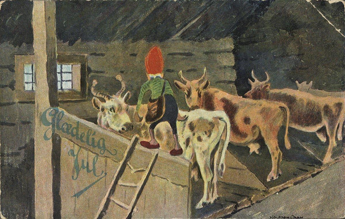 A nisse in the cowshed. | Artist: Halfdan Gran - Prospekt nb.no cc pdm.