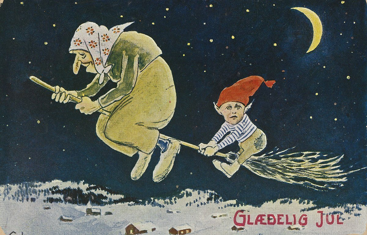 A nisse is getting a Christmas ride with a witch. | Artist: Gustav Lærum - Eberh. B. Oppi kunstforlag nb.no cc pdm.