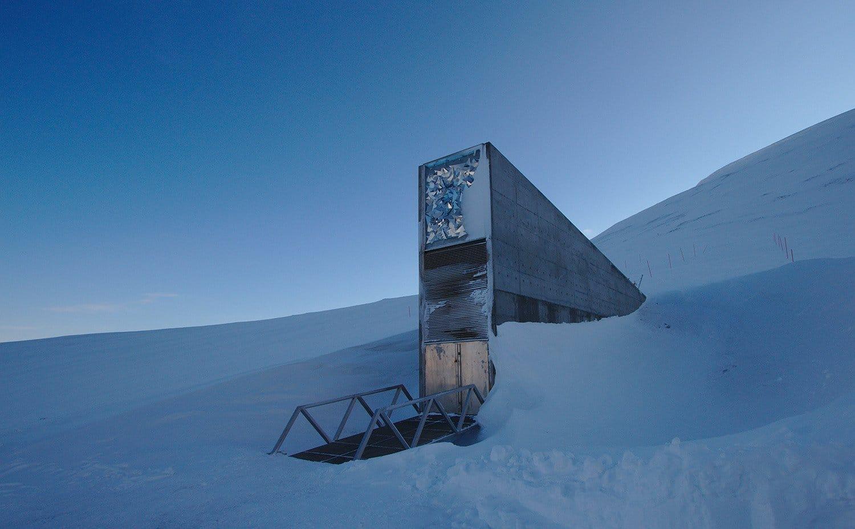 The entrance to the Svalbard Global Seed Vault.   Photo: Einar Jørgen Haraldseid - Wikimedia cc by-sa.