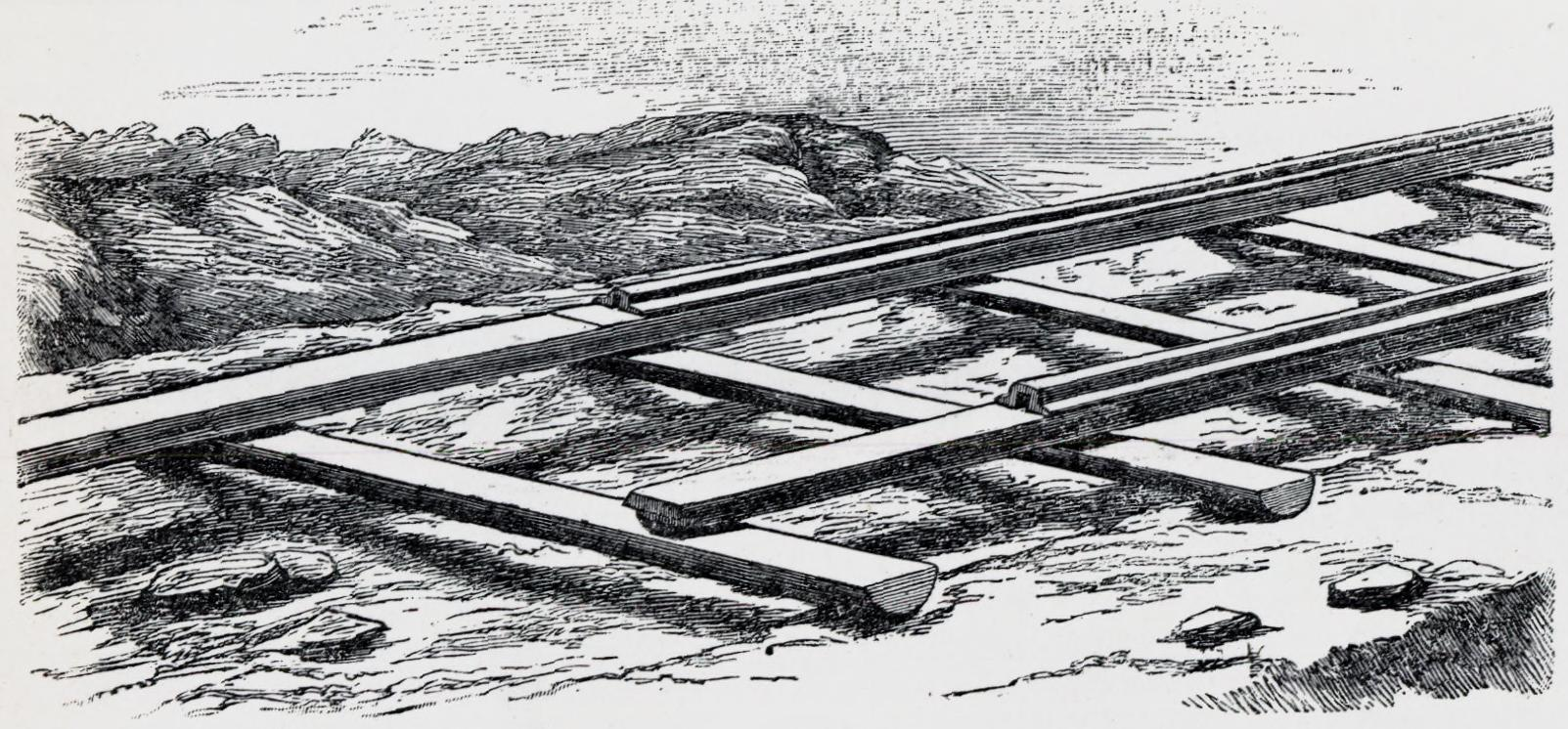 Illustration of the early railway tracks. | Illustration: Yngvar Nielsen - Gyldendal Wikimedia cc pdm.