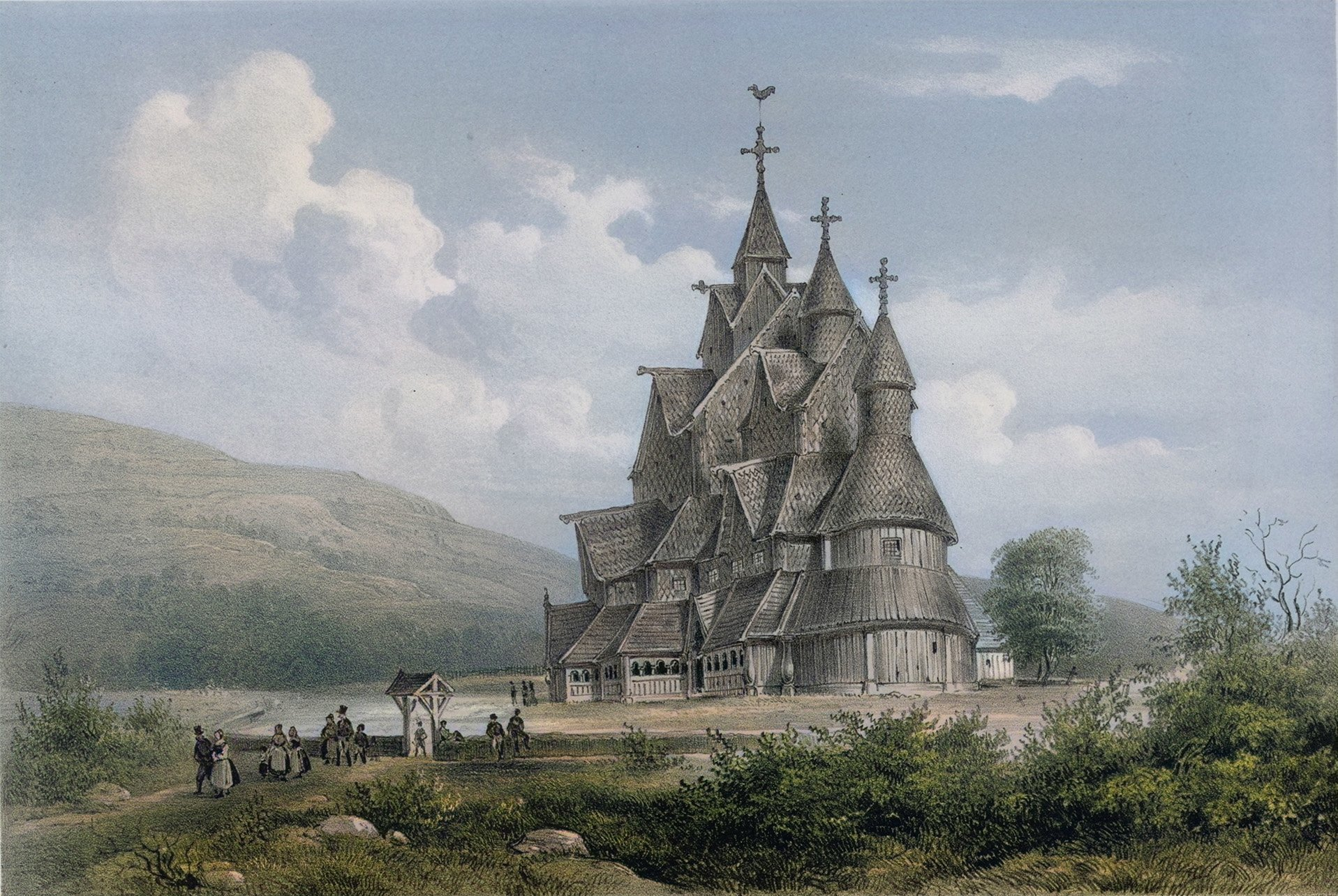 The Heddal stave church. Book illustration from 1848.   Drawing: Hjalmar Kjerulf - wikimedia DeOldify cc pdm.