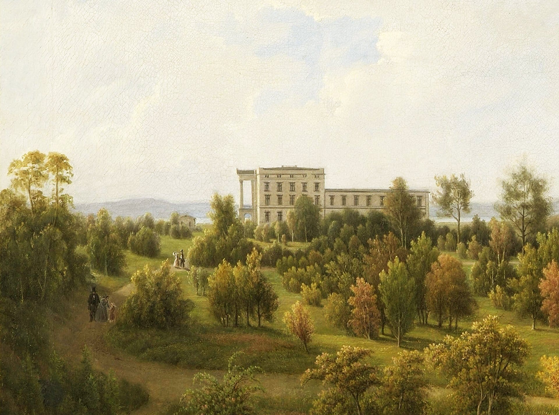 The royal palace in Oslo and its north-eastern facade. In the background, we see the Oslofjord. The painting is by the architect himself, Hans von Linstow. | Photo: Rune Aakvik - Oslo Museum cc by.