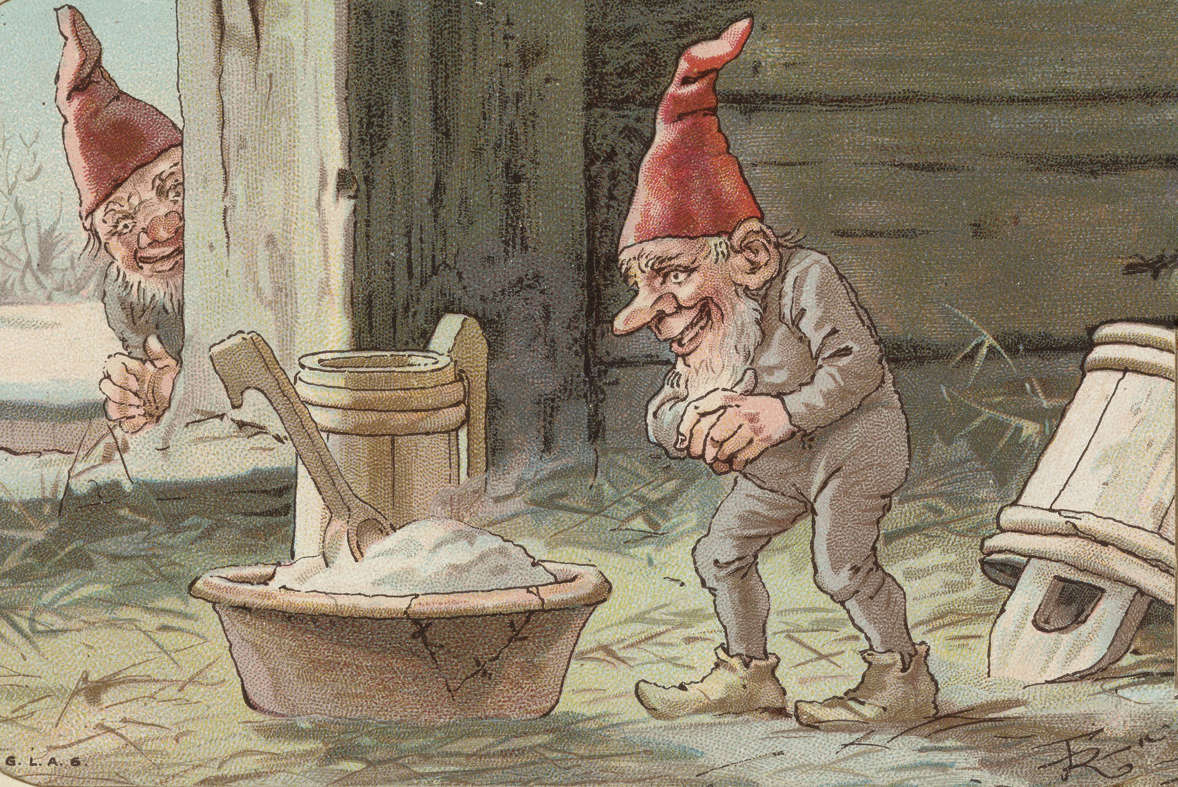 A Norwegian nisse is ready for his Christmas porridge - skjemat - in the barn. Hopefully, he is willing to share. | Artwork: G.L.A.S. cc pdm.