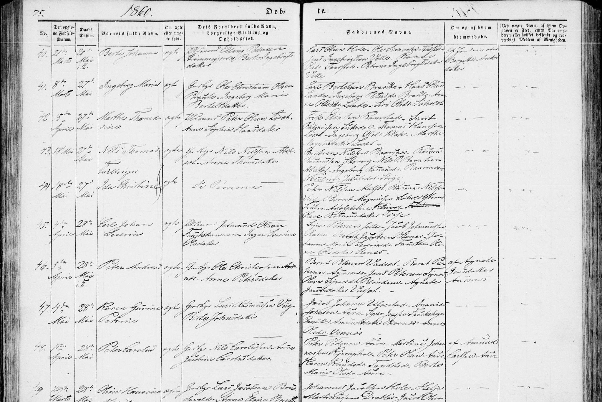 Birth record for Peder Andreas Olsen Aursnes – born 5 April 1860.   © arkivverket.no.