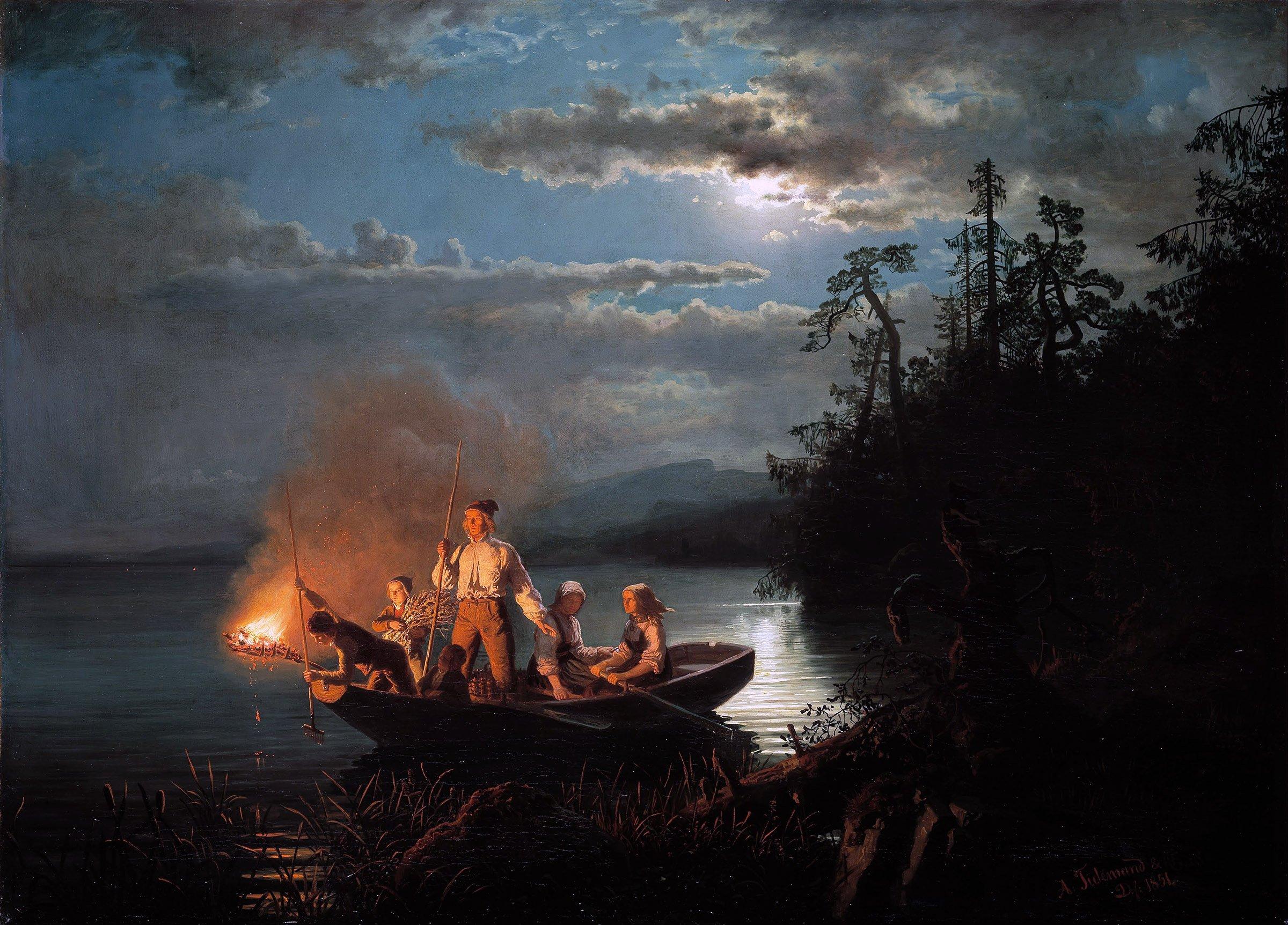 Lystring on Lake Krøderen. | Painters: Adolph Tidemand and Hans Gude - Nasjonalgalleriet Wikimedia.org cc pdm.