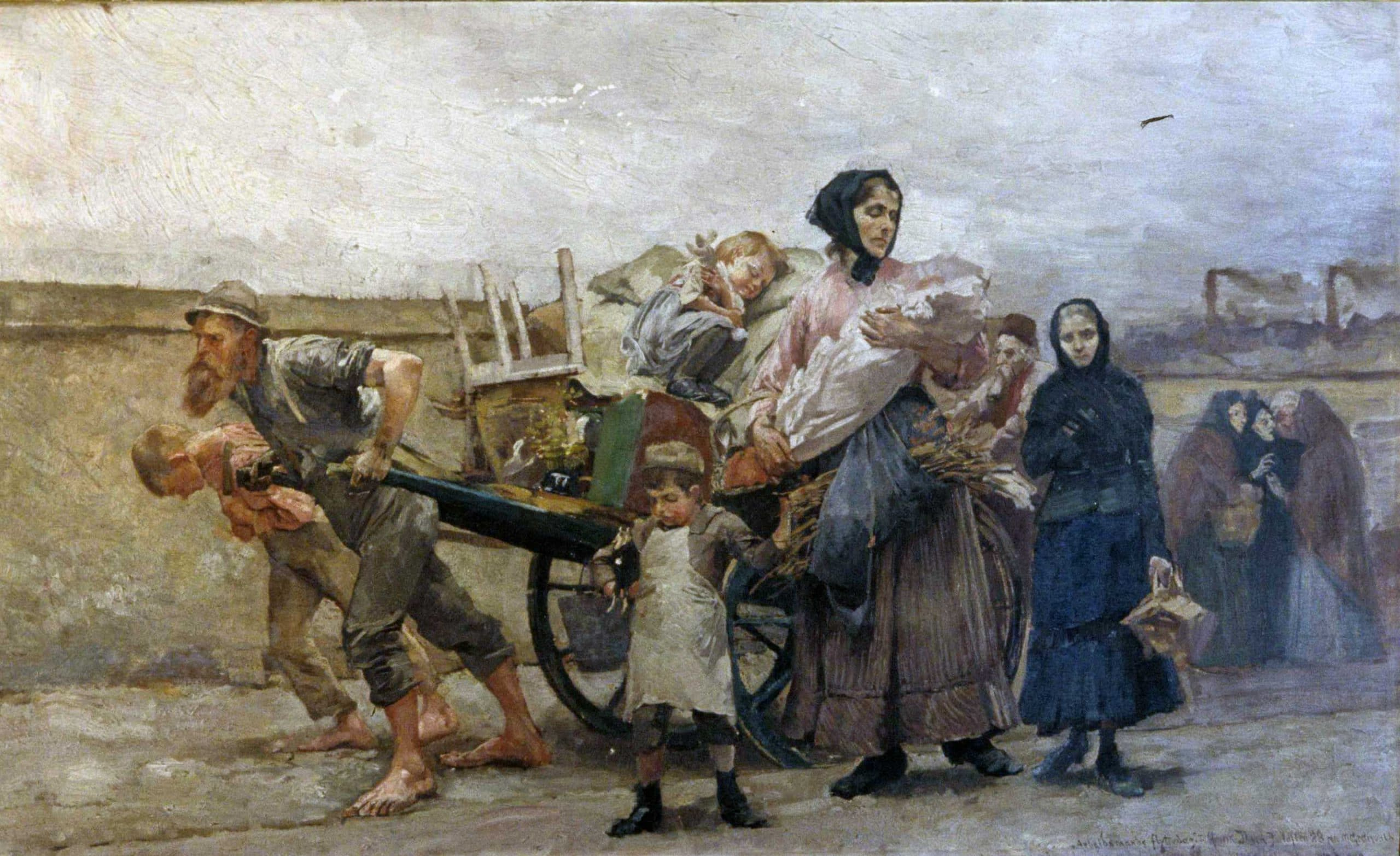 A workman's moving day. Oil painting by Marcus Grønvold. Belonged to Henrik Ibsen. | Photo: Erik Thallaug - Ibsenmuseet cc by-sa.